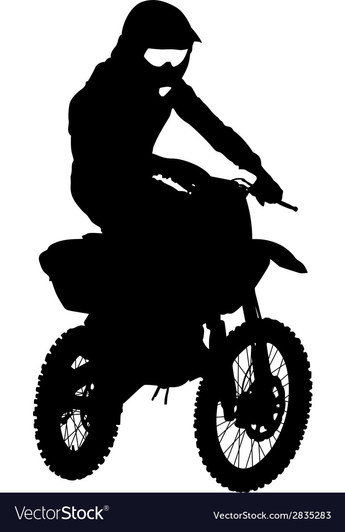Black silhouettes motocross rider on a motorcycle vector | Price: 1 Credit (USD $1)