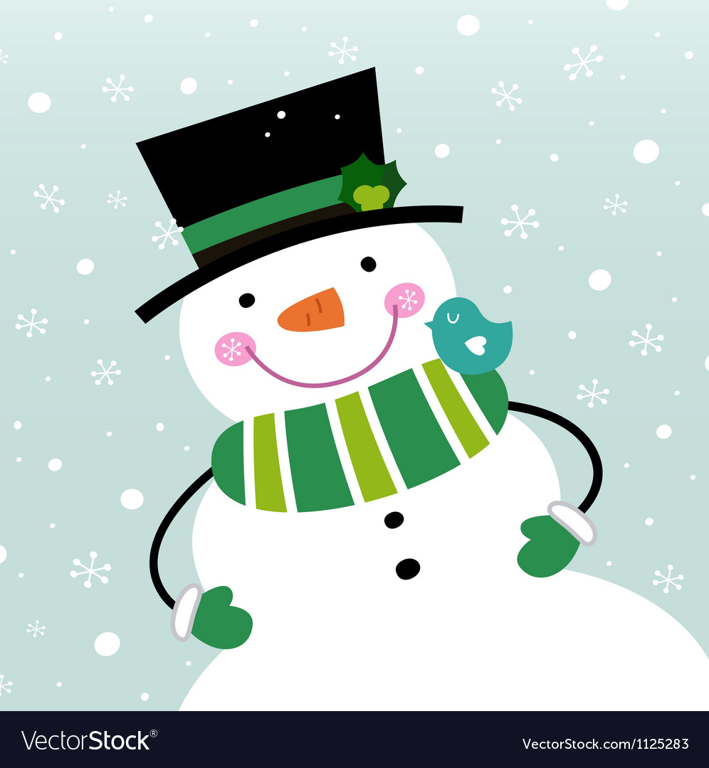 Cute winter snowman isolated on snowing background vector | Price: 1 Credit (USD $1)