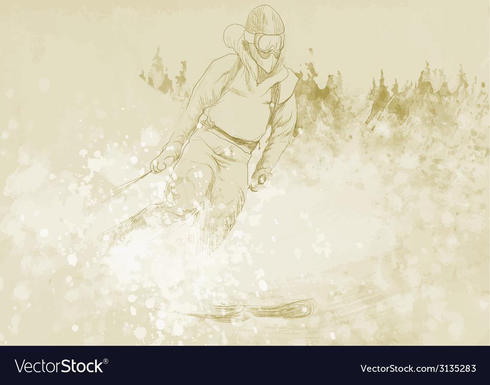 Downhill skier vector | Price: 1 Credit (USD $1)