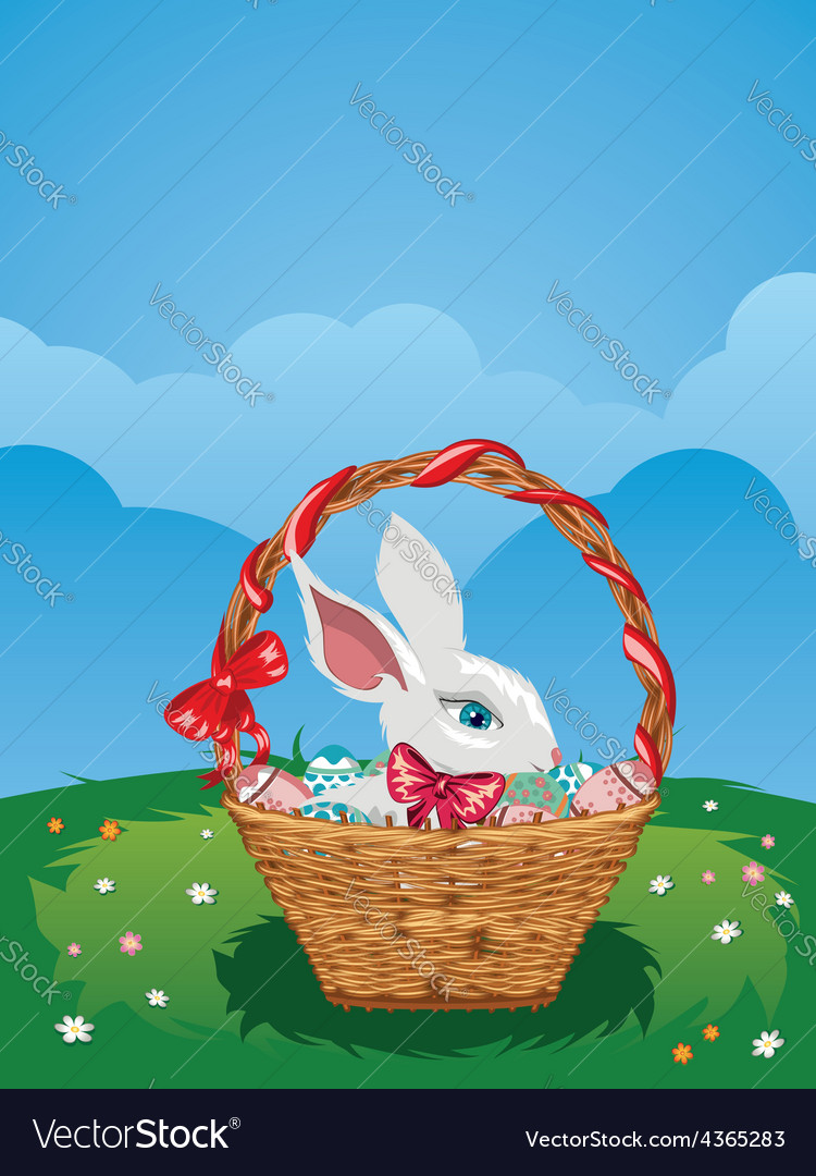 Easter bunny with eggs in the basket vector | Price: 1 Credit (USD $1)