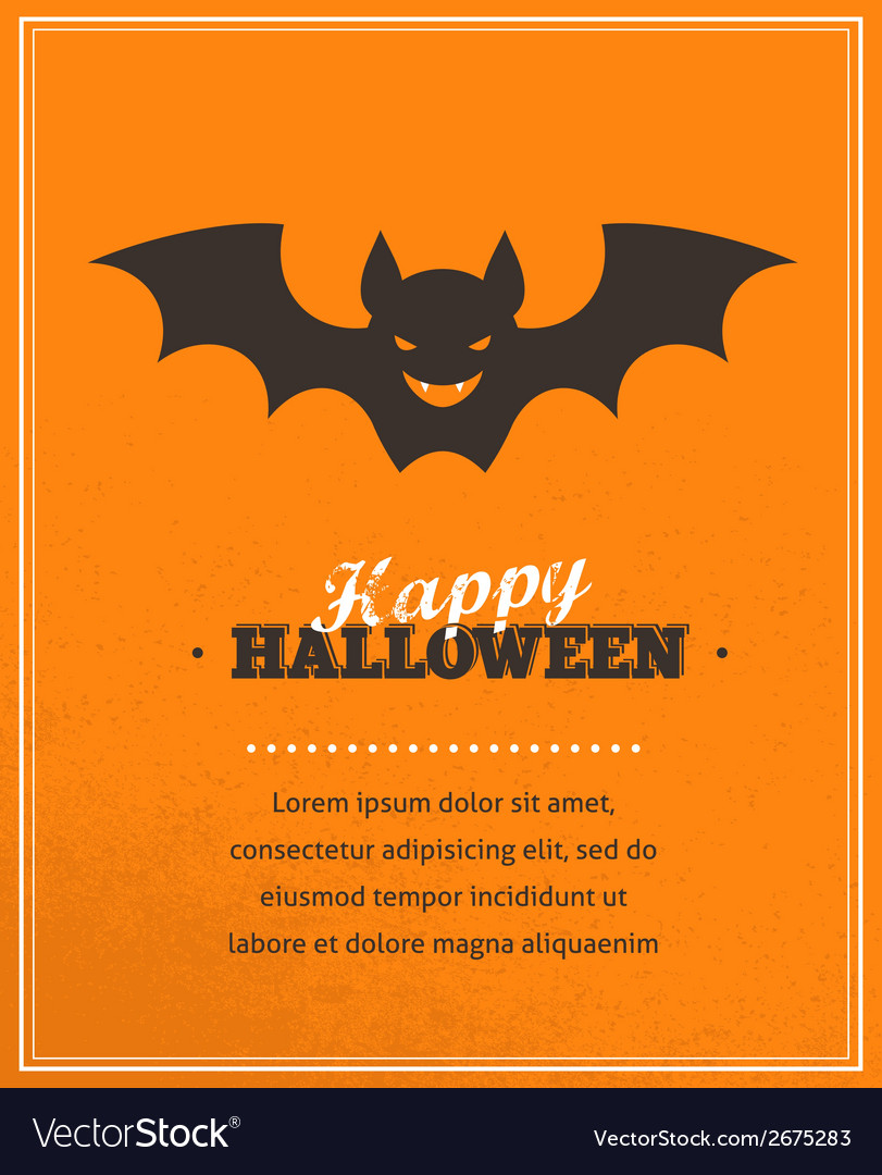 Halloween cute poster with bat silhouette vector | Price: 1 Credit (USD $1)
