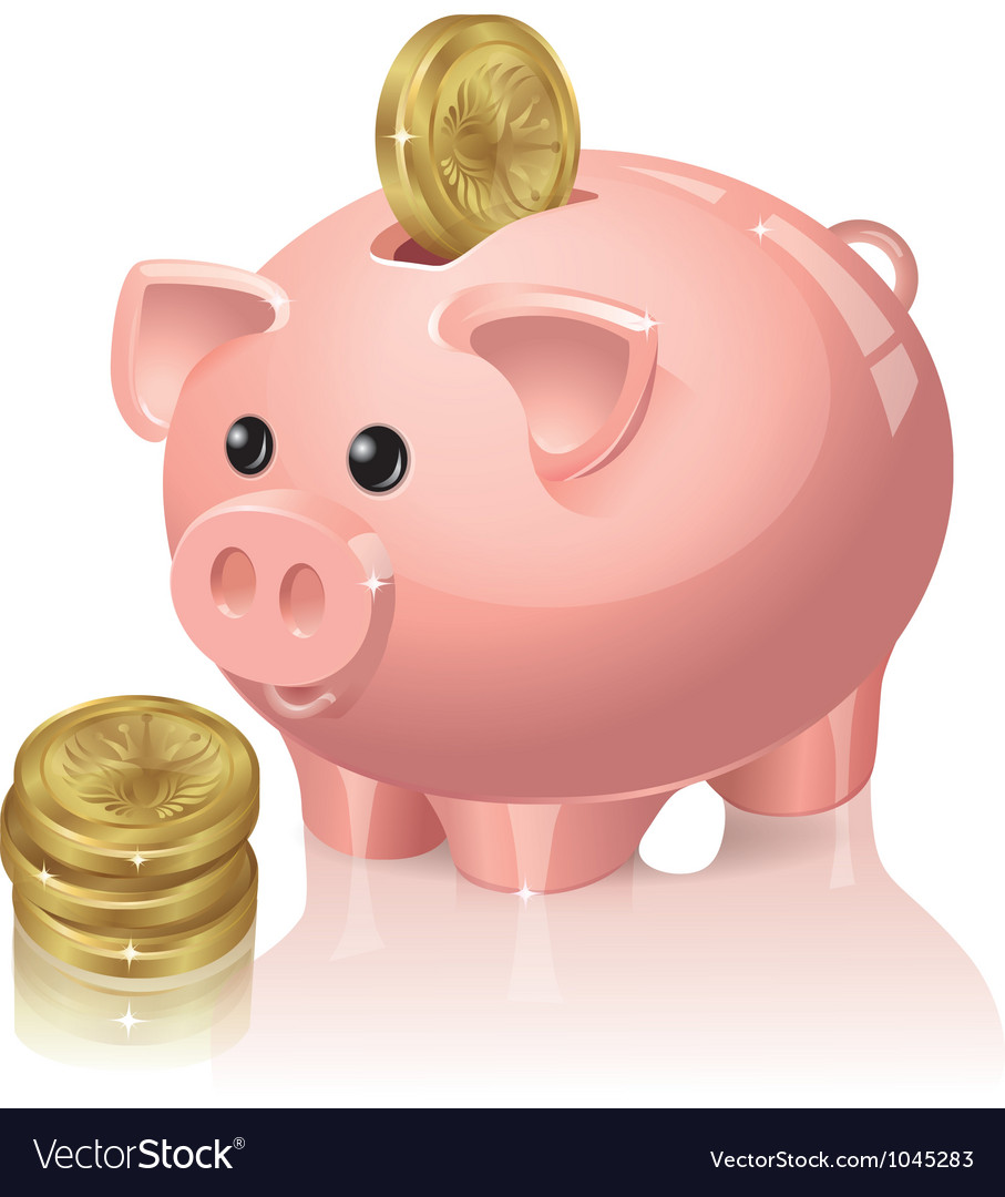 Piggy bank and coins vector | Price: 3 Credit (USD $3)