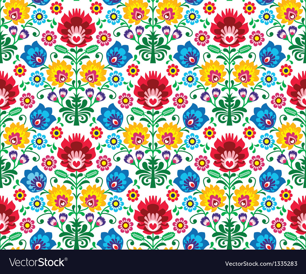 Seamless floral polish pattern - ethnic background vector | Price: 1 Credit (USD $1)