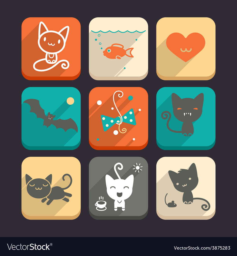 Set of cats and animal icons part 2 vector | Price: 1 Credit (USD $1)