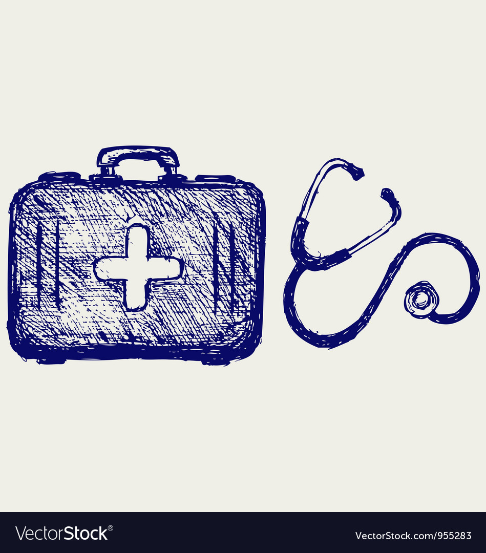 Stethoscope with first aid kit vector | Price: 1 Credit (USD $1)