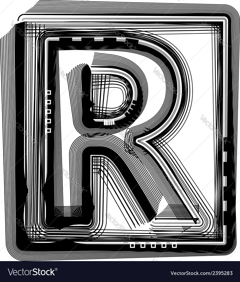 Striped font letter r vector | Price: 1 Credit (USD $1)
