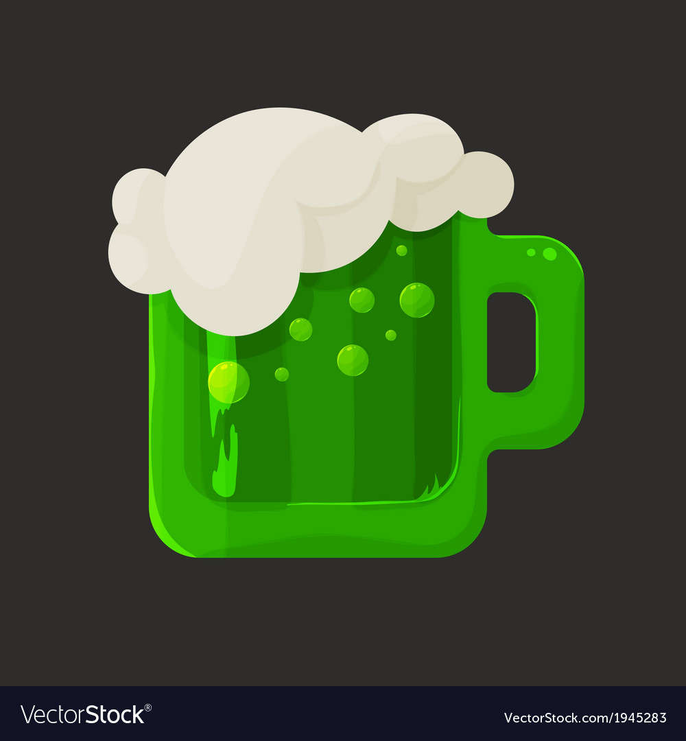 Stylized shiny glass mug with green beer and foam vector | Price: 1 Credit (USD $1)