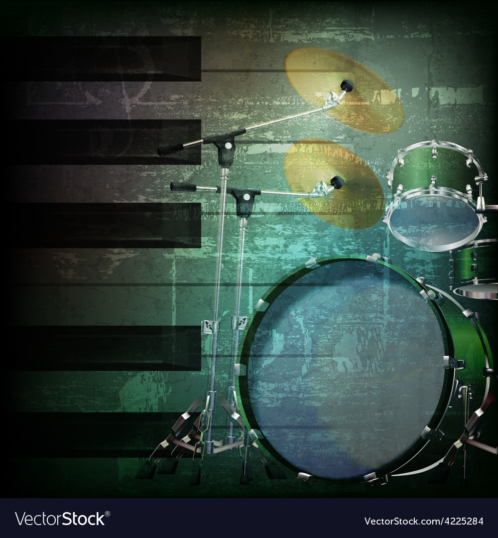 Abstract dark green grunge background with drum vector | Price: 3 Credit (USD $3)