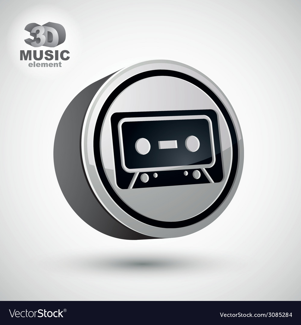 Audio cassette icon isolated 3d music theme design vector | Price: 1 Credit (USD $1)
