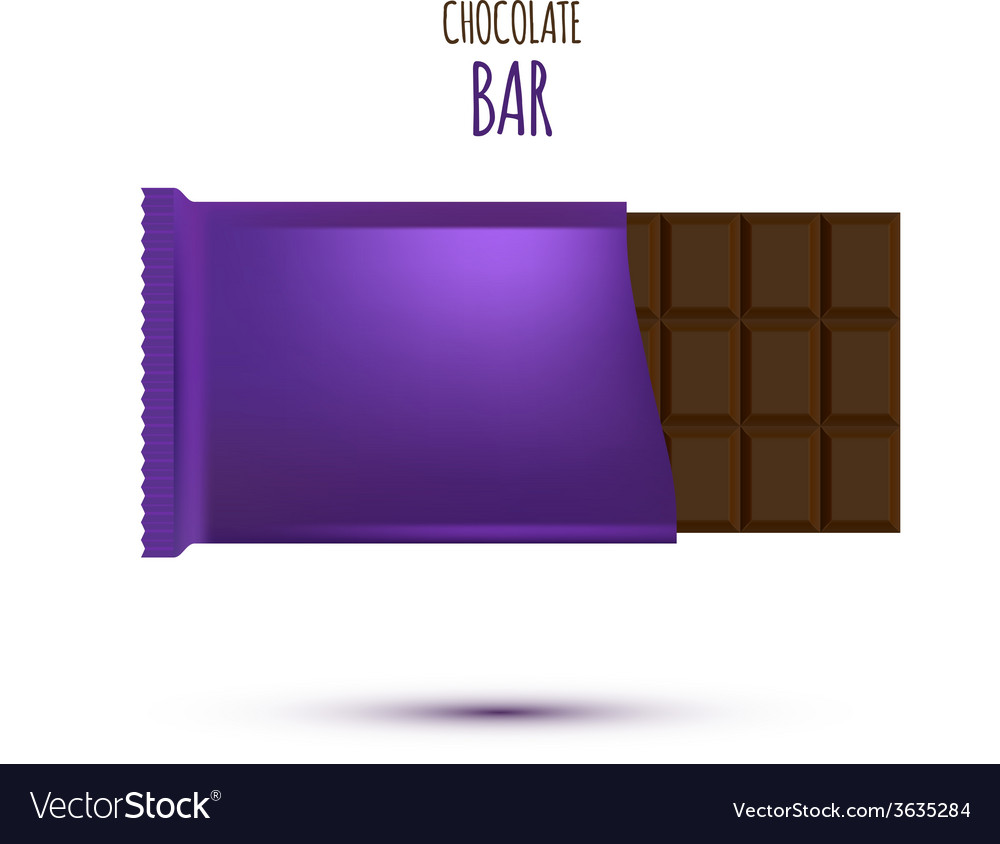 Chocolate bar isolated on white background vector | Price: 1 Credit (USD $1)