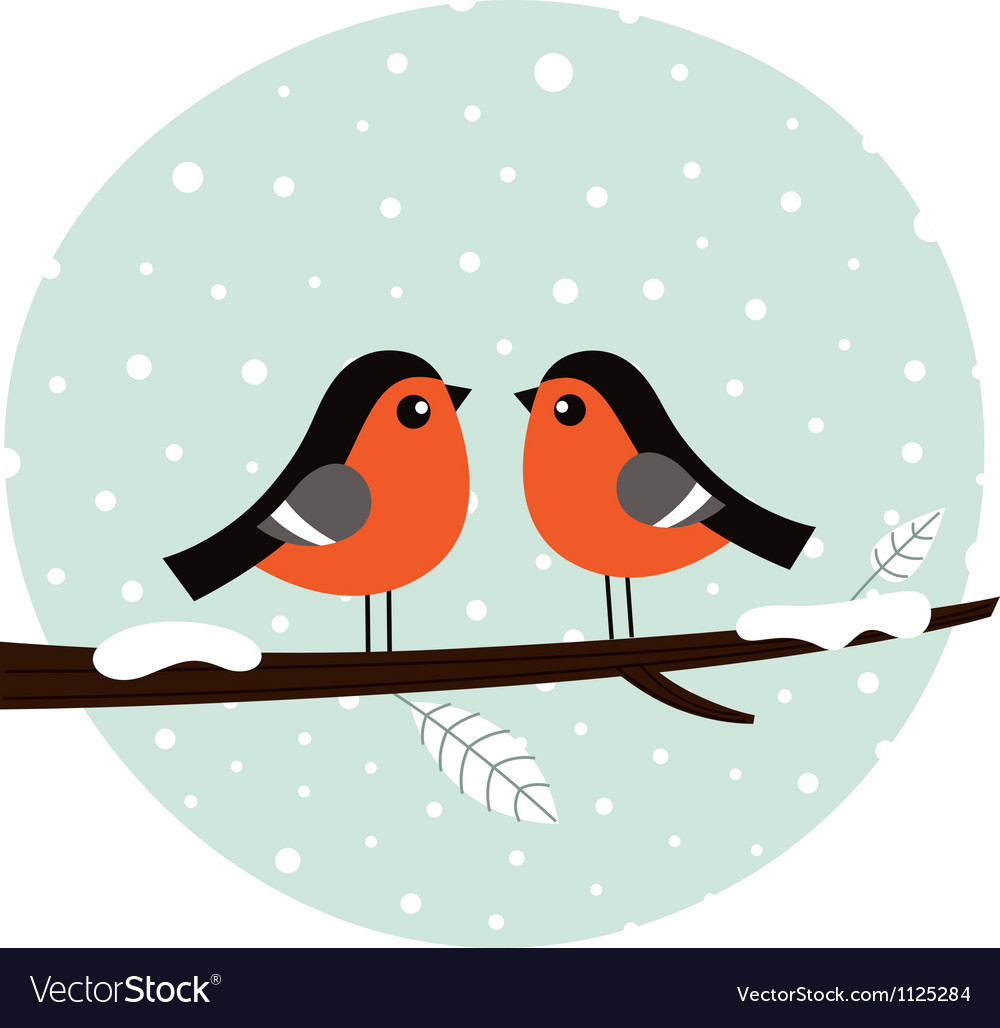 Cute bullfinch couple sitting on the branch vector | Price: 1 Credit (USD $1)