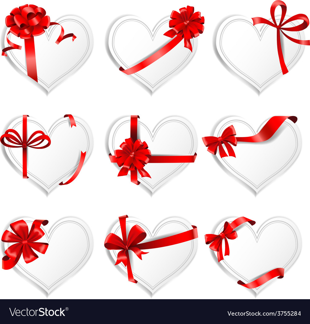 Festive heart-shaped cards with red gift ribbons vector | Price: 3 Credit (USD $3)