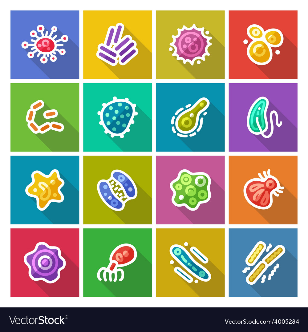 Germs and bacteria flat icons set vector | Price: 3 Credit (USD $3)