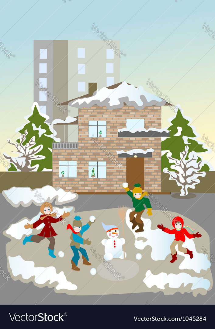 Kids christmas winter games vector | Price: 1 Credit (USD $1)