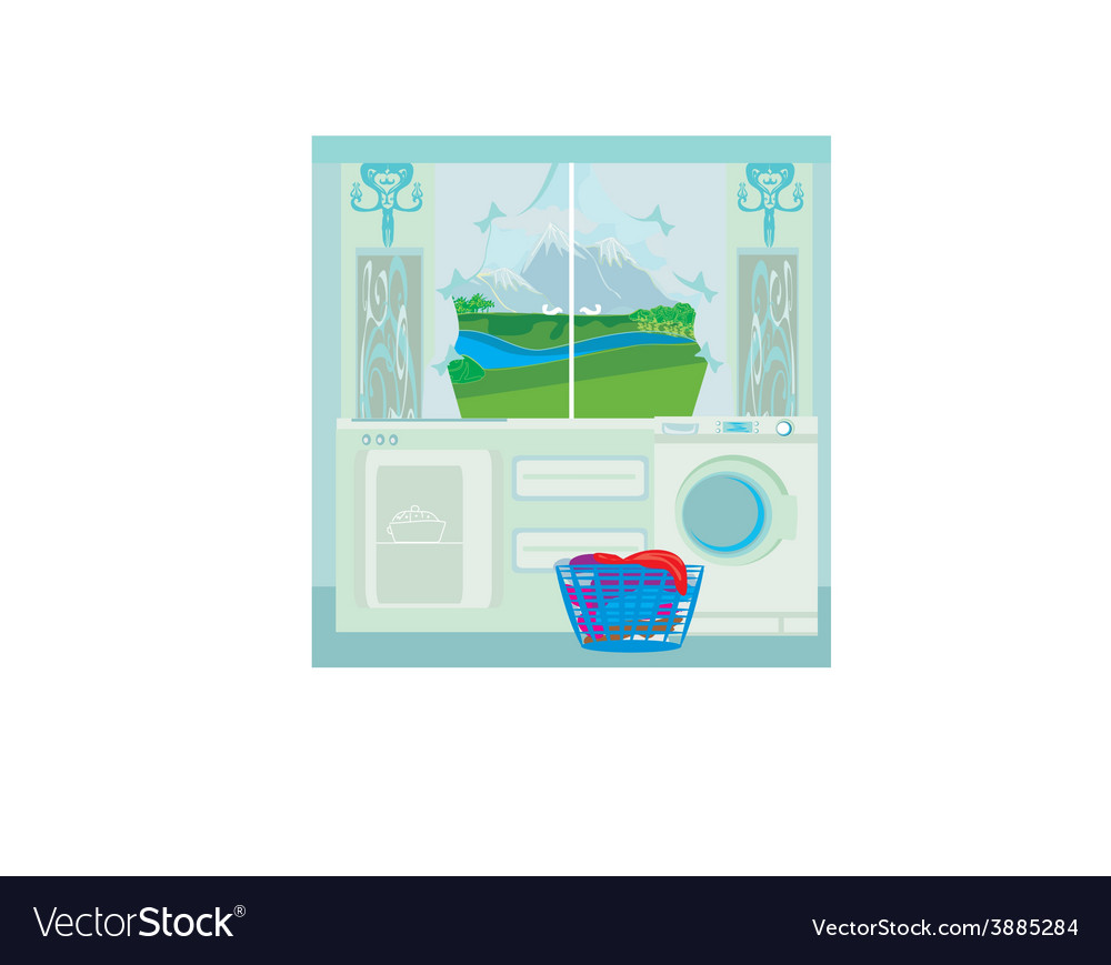 Modern blue kitchen vector | Price: 1 Credit (USD $1)