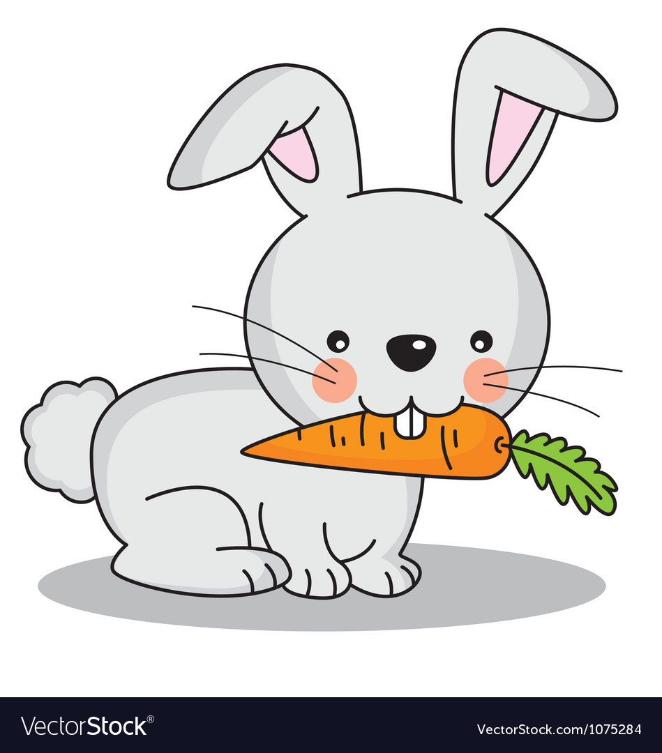Rabbit eating a carrot vector | Price: 1 Credit (USD $1)