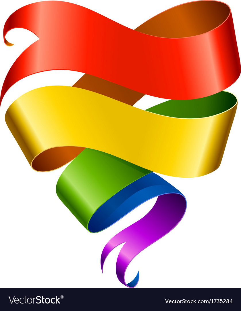 Rainbow ribbon in the shape of heart vector | Price: 1 Credit (USD $1)