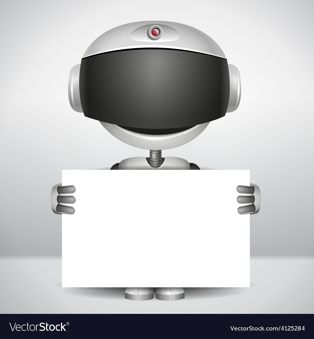 Robot holding white paper vector | Price: 3 Credit (USD $3)