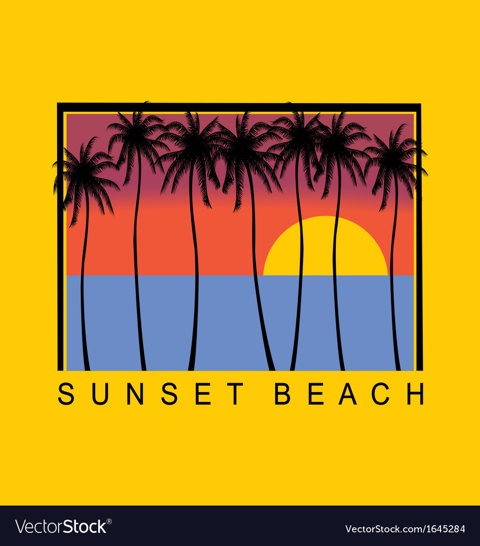 Sunset beach vector | Price: 1 Credit (USD $1)