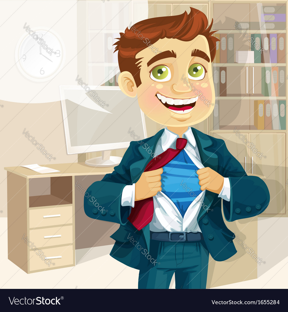 Super business man in office vector | Price: 3 Credit (USD $3)
