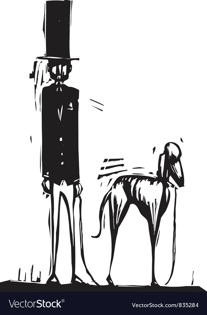 Tall man with dog vector | Price: 1 Credit (USD $1)