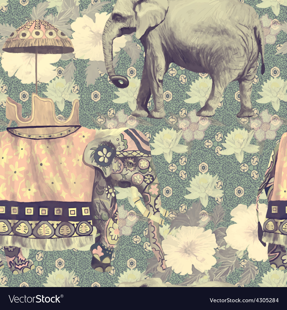 Vintage style seamless pattern with indian vector