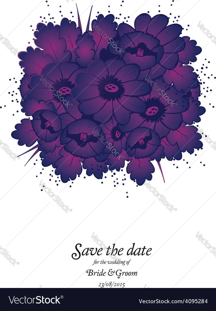 Wedding invitation with purple flowers vector | Price: 1 Credit (USD $1)