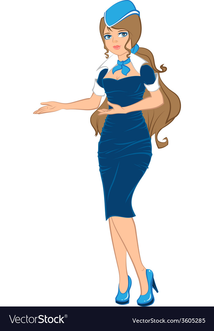 Air hostess in blue uniform vector | Price: 1 Credit (USD $1)