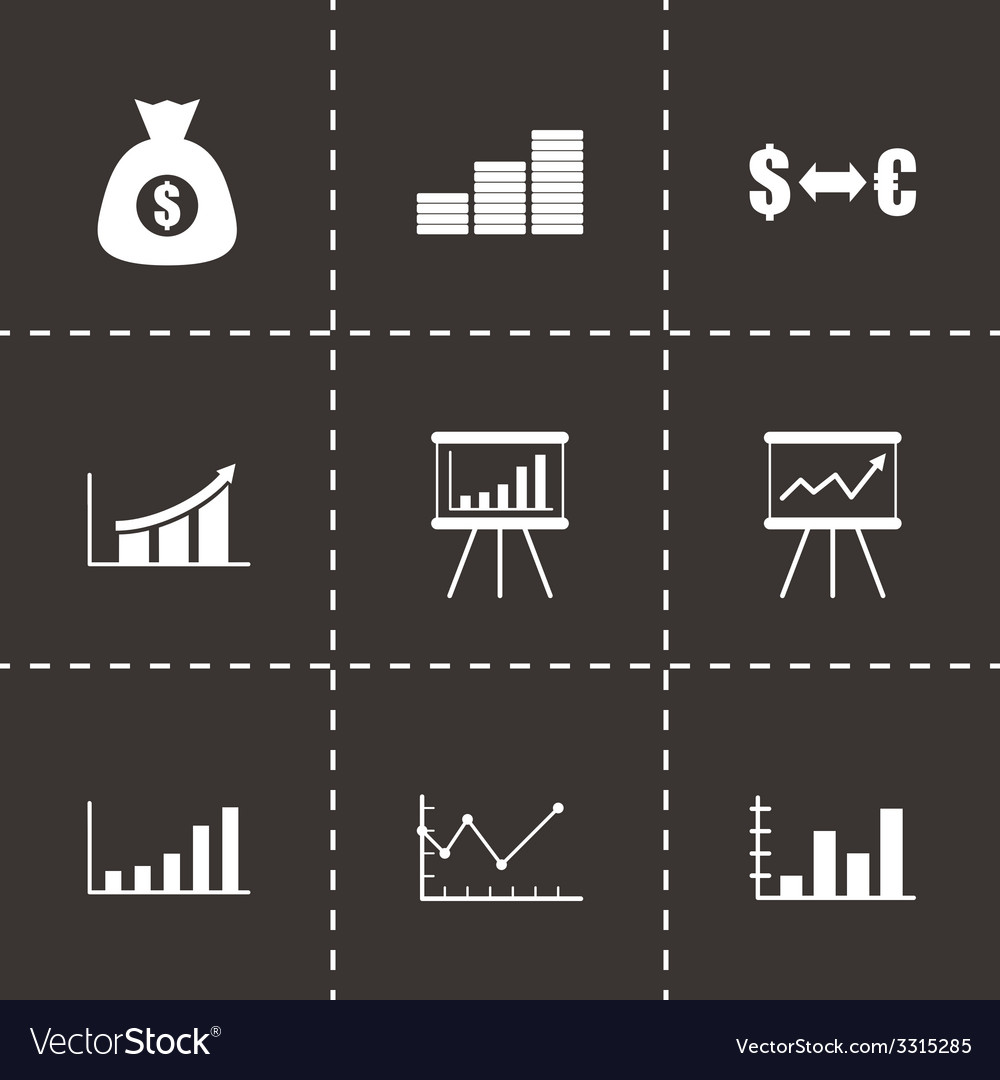 Black economic icon set vector   Price: 1 Credit (USD $1)