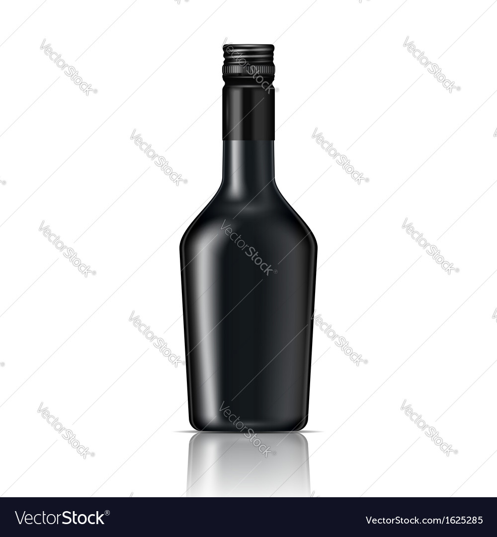 Black glass liqueur bottle with screw cap vector | Price: 1 Credit (USD $1)