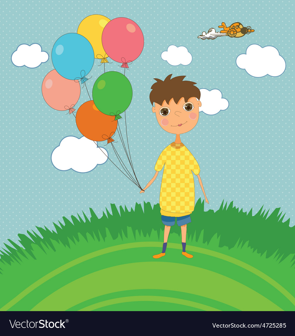 Boy outdoors with balloons vector | Price: 1 Credit (USD $1)