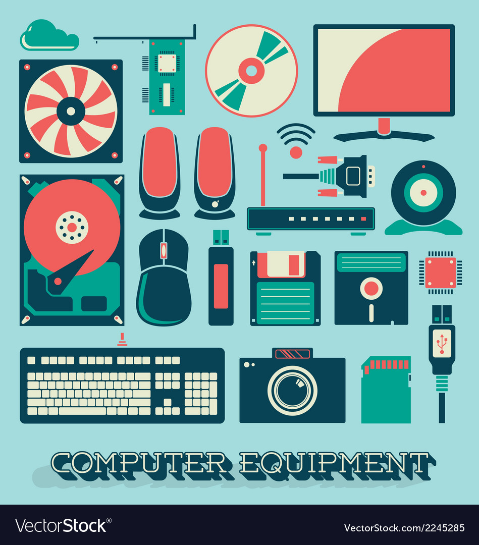 Computer equipment vector | Price: 1 Credit (USD $1)