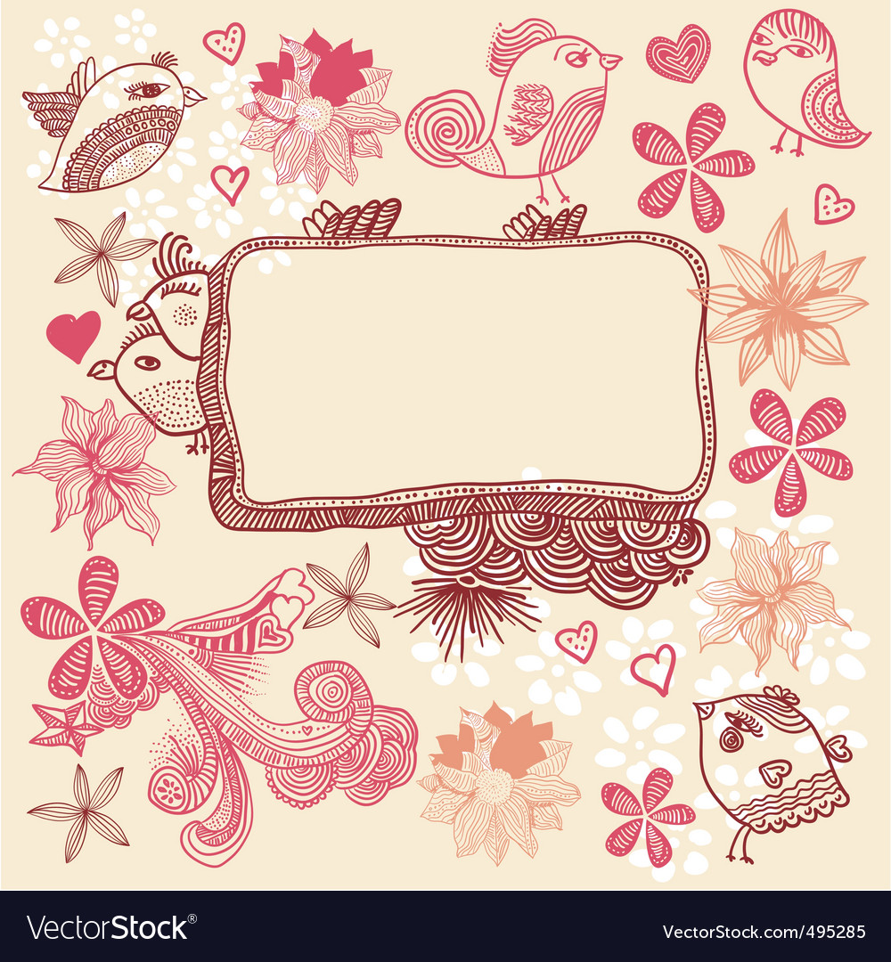 Floral and birds sketch vector | Price: 1 Credit (USD $1)