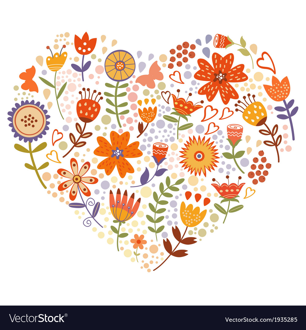 Floral heart card vector | Price: 1 Credit (USD $1)