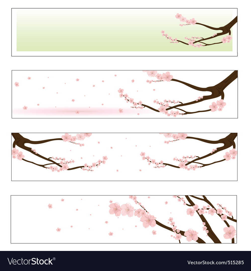 Flowered sakura vector | Price: 1 Credit (USD $1)