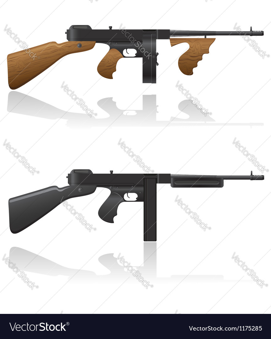 Gangster gun thompson 03 vector | Price: 1 Credit (USD $1)