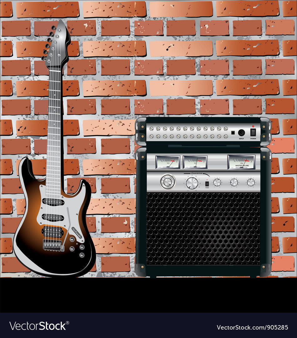 Guitar and brick wall background vector | Price: 1 Credit (USD $1)