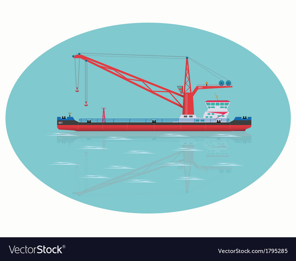 Red floating crane vector | Price: 1 Credit (USD $1)