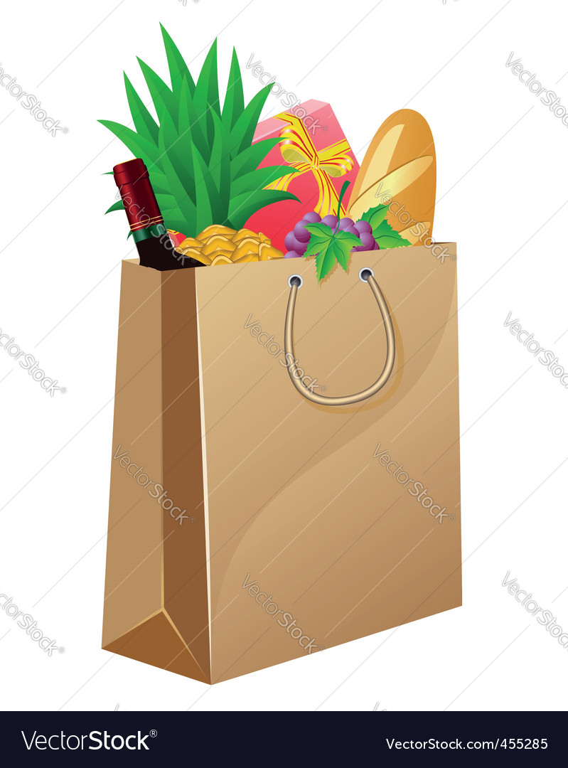 Shopping bag with foods vector | Price: 1 Credit (USD $1)