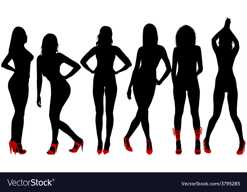 Silhouettes of sexy women with red shoes vector | Price: 1 Credit (USD $1)