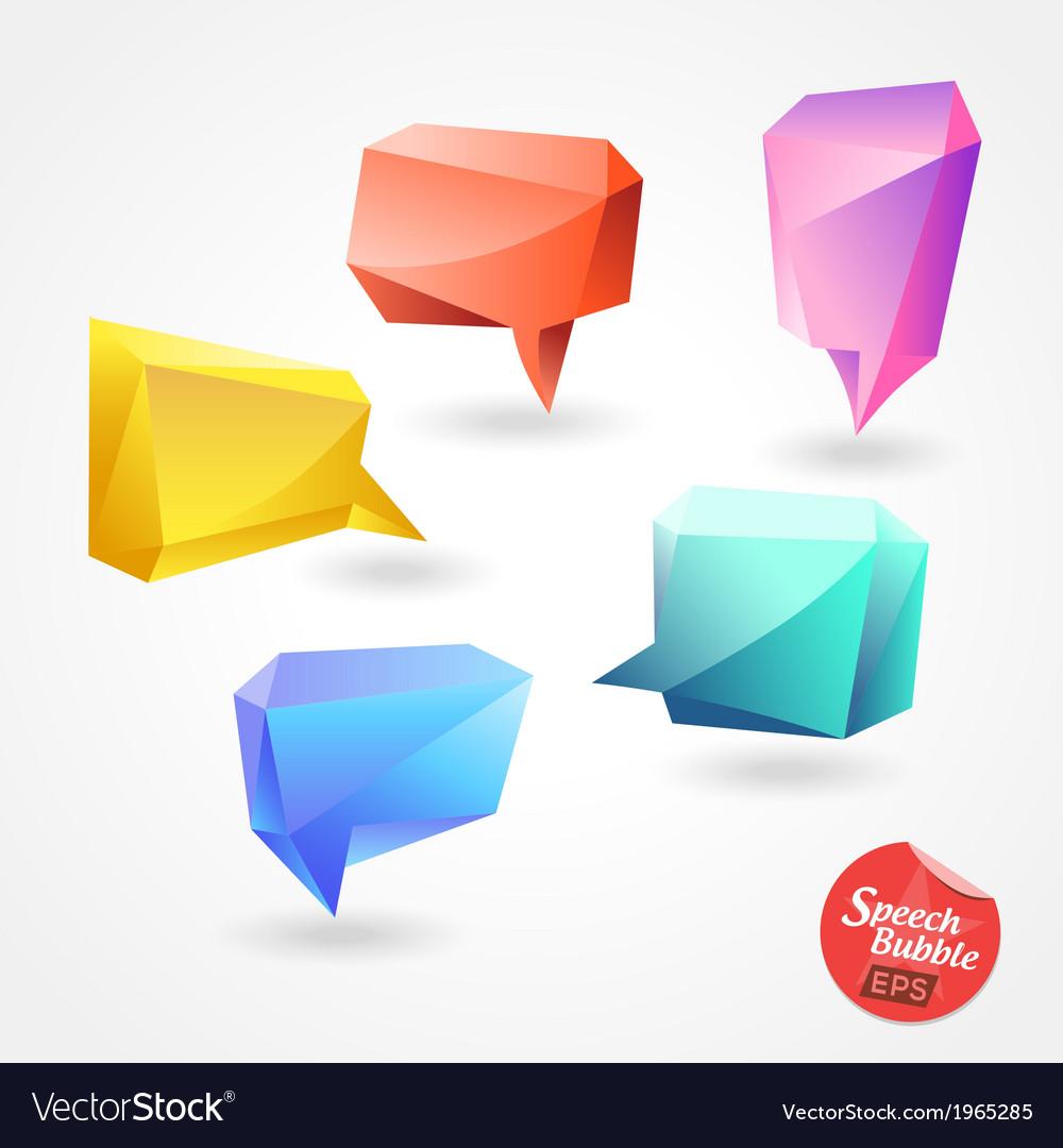 Speech bubble polygon 3d vector | Price: 1 Credit (USD $1)