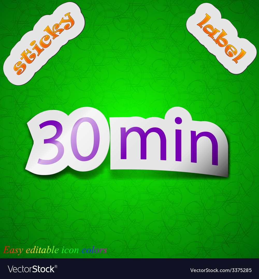 Thirty icon sign symbol chic colored sticky label vector   Price: 1 Credit (USD $1)