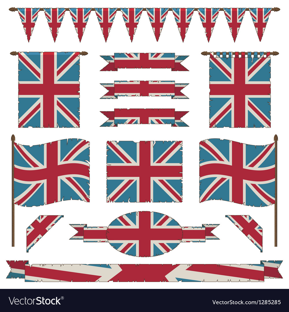 Union jack flags and ribbons vector | Price: 1 Credit (USD $1)