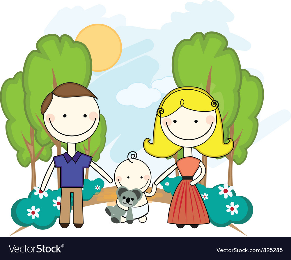 Young couple in park with baby vector | Price: 1 Credit (USD $1)