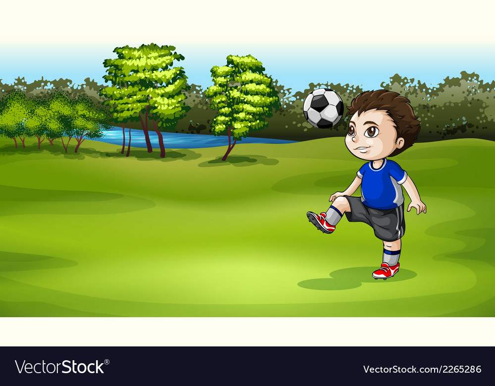 A boy playing soccer outdoor vector | Price: 1 Credit (USD $1)