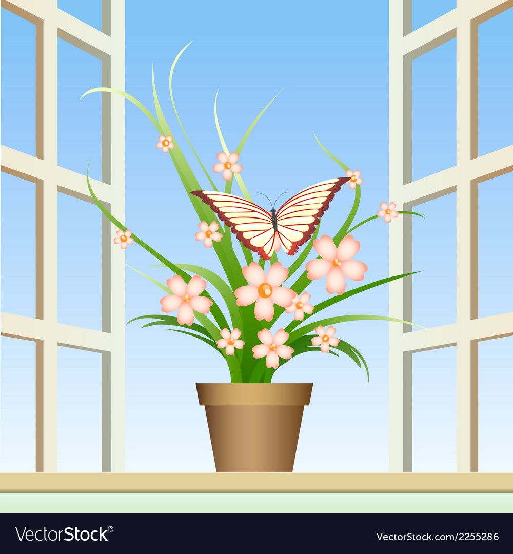 Butterfly and window plant vector | Price: 1 Credit (USD $1)