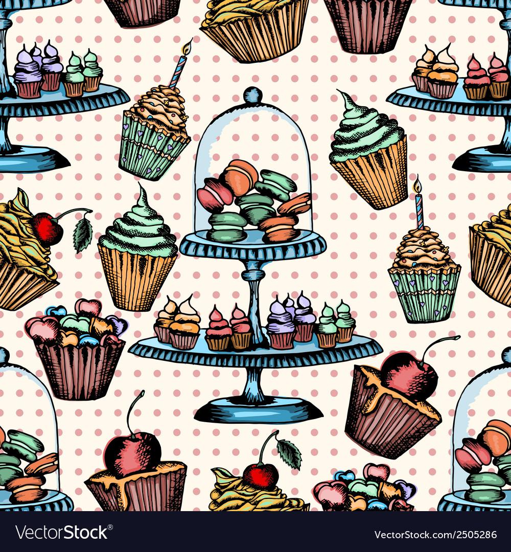 Cake seamless pattern vector | Price: 1 Credit (USD $1)