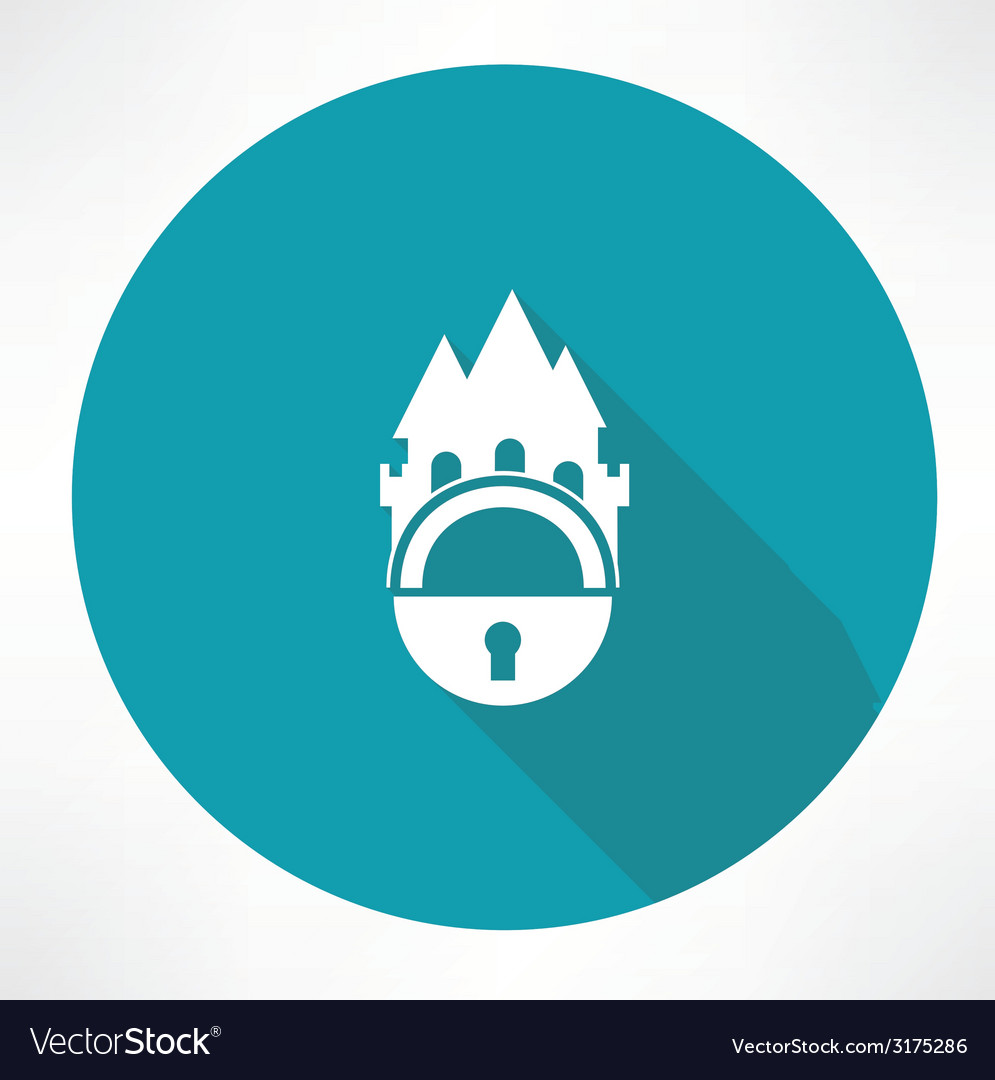 Castle and locking icon vector | Price: 1 Credit (USD $1)