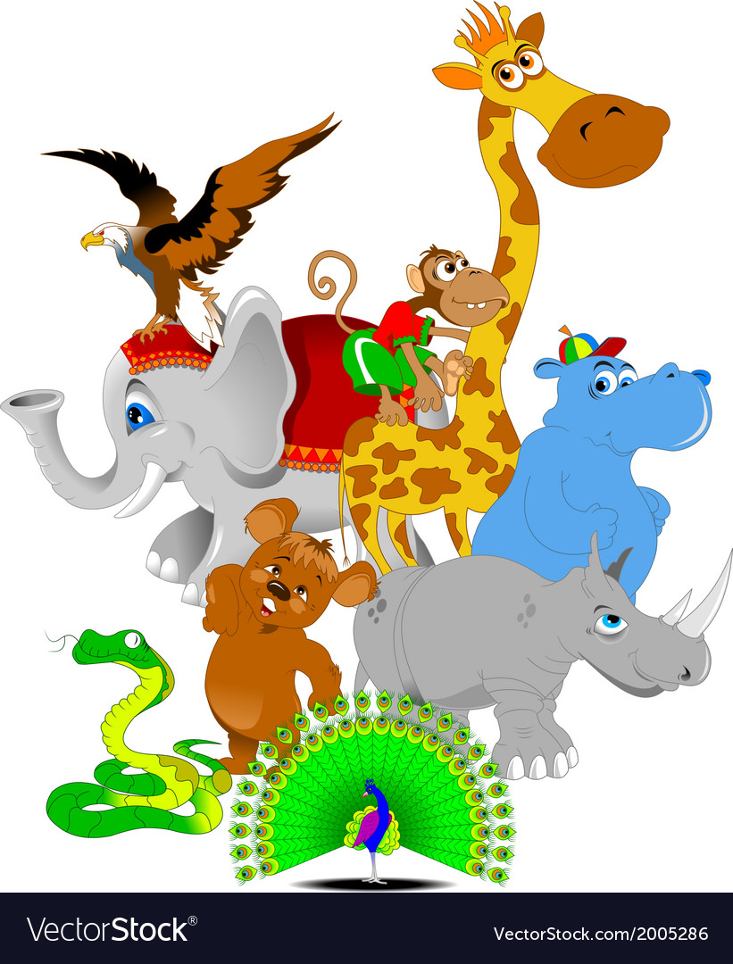 Cheerful zoo cartoon vector   Price: 1 Credit (USD $1)