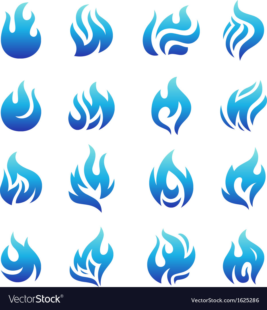 Collection of blue fire icons vector | Price: 1 Credit (USD $1)